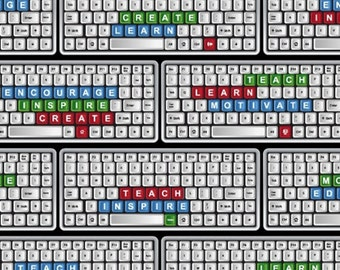 One Yard Educators - Computer Keyboards in Multi - Cotton Quilt or Sewing Fabric - Windham Fabrics - 39020-X (W3081)