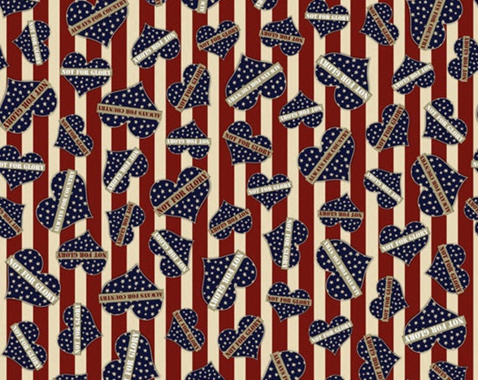 One Yard Be Strong, Be Brave - Hearts in Red - Cotton Quilt Fabric - Homefront Girl - Quilting Treasures - 24082-R (W3164)