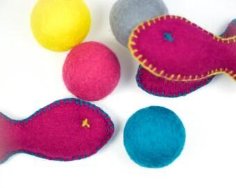 Catnip Cat Toy Combo - Catnip Stuffed Fish and Catnip Infused Rattle Ball - Handmade