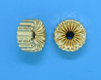 Item # 110 - 6mm 14/20 Gold Filled Corrugated flat rondelle, tire shape beads