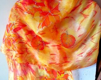 "Hand Painted Silk Scarf  ""Golden Autumn"""