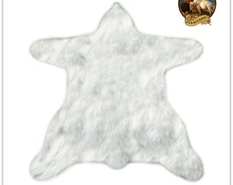 shaggy off white faux fur sheepskin bear skin rug accent throw rug plush