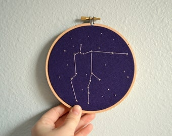Aquarius Constellation Embroidery Hoop Art - Zodiac Star Sign, Astrology Wall Hanging, Hand Embroidered Aquarius Gift, Starry Sky