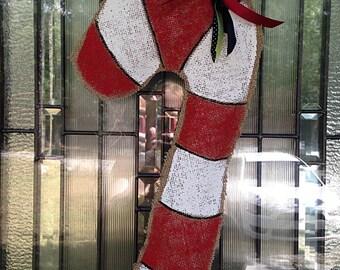 Candy Cane Burlap Door Hanger