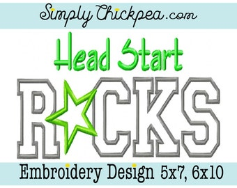Embroidery Design - Head Start Rocks - Appliqué - Rock Star - Back to School - For 5x7 and 6x10 Hoops