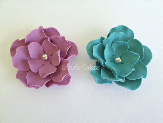 Edible Sugar Fondant Flowers Purple Silver Wedding Cake