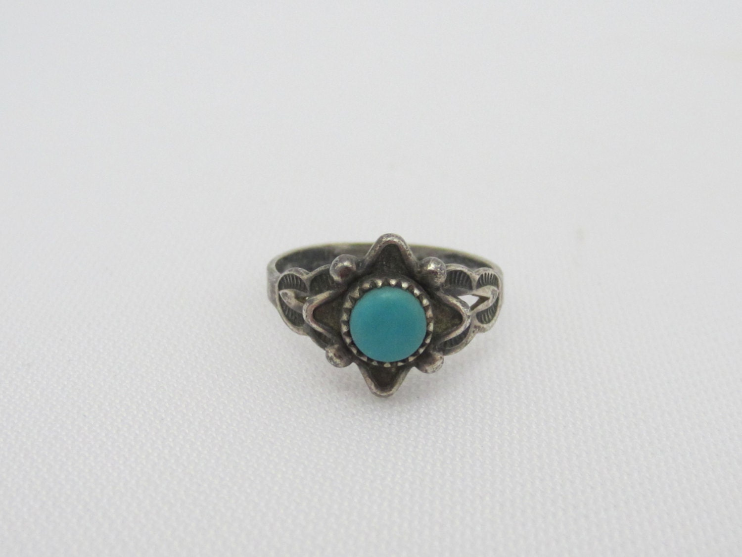 vintage sterling silver turquoise ring size 4