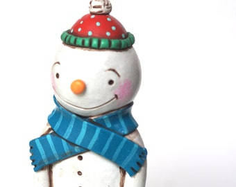 Chubby Snowman with Scarf folk art sculpture from polymer clay