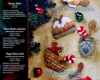 Bucilla Chef Santa ~ 6 Pce. Felt Christmas Ornament Kit #85459 Baking, pudding DIY