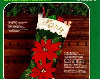 "Bucilla Majestic Poinsettia ~ 18"" Felt Christmas Stocking Kit #82318, Vintage DIY"