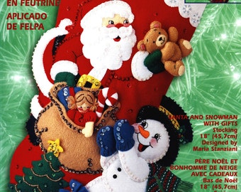 "Bucilla Santa and Snowman With Gifts ~ 18"" Felt Christmas Stocking Kit #84385 DIY"