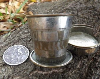 Indian War Era Pat'd 1897 Vest Pocket Cup - Rare 1800s Victorian Era Piece! Authentic & Original 19th Century Folding Collapsible Cup