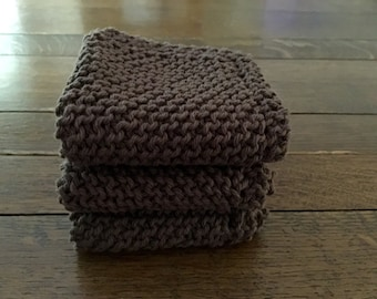 KNITTED WASH CLOTHs - 3 pk CHOCOLATE - Cotton Simple
