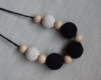 cream black Crochet Nursing Necklace - Breastfeeding Necklace - Teething necklace with crochet beads
