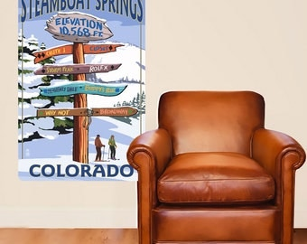 Steamboat Springs Colorado Signpost Wall Decal - #60933