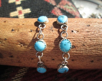 Turquoise and Sterling Post Dangle Earrings