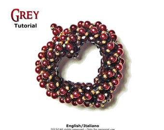 Tutorial 3D beading patterns-heart-Pendant-Grey double face