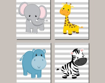 JUNGLE Nursery Animals Wall Art Baby Boy Nursery ELEPHANT Giraffe Zebra Baby Boy Decor Jungle Baby Shower Gift Set of 4 Prints Or Canvas