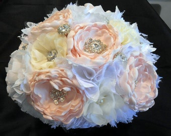 Wedding Bouquet, Bridal Bouquet, Fabric Bouquet, Shabby Chic, Lace Bouquet, White, Victorian Bouquet, Alternative Bouquet, Blush Bouquet