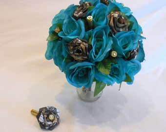 Camo Wedding Bouquet, Camo Bridal Bouquet, Mossy Oak Camo, Turquoise Bouquet, Teal Bouquet, Camo Wedding, Bullet Shells, Alternative Bouquet