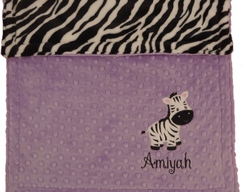 Personalized Baby Blanket, Purple Baby Girl Zebra blanket