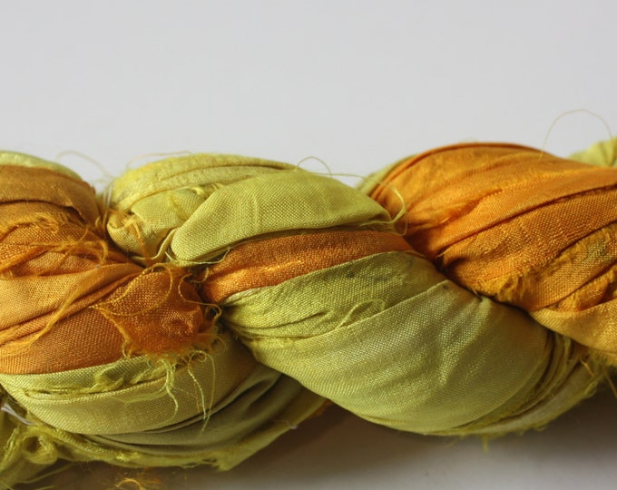 NEW** - Hand Dyed Double Colour Recycled Sari Silk Ribbon - 'Sunshine'