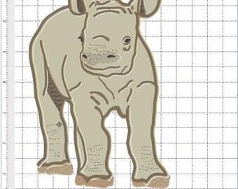 Cute Baby Rhino applique 5x7