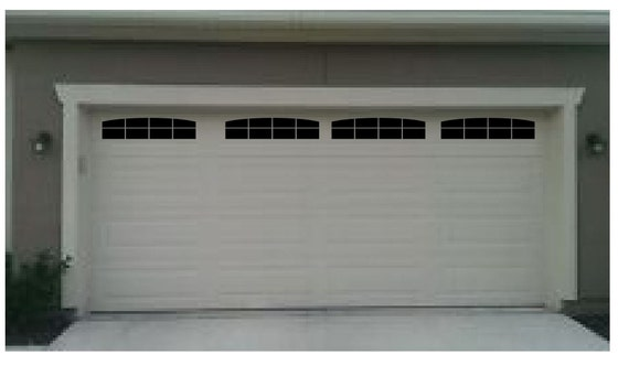 Carriage House Style Faux Double Garage Door Windows With Wide