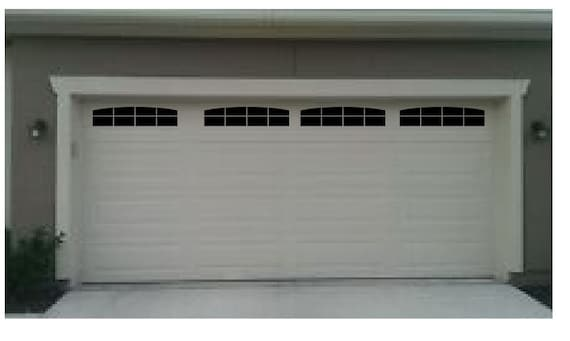 Carriage house style faux double garage door windows with wide for How wide is the average garage door