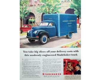 Vintage newspaper advertisement for a 1947 Studebaker truck - 3