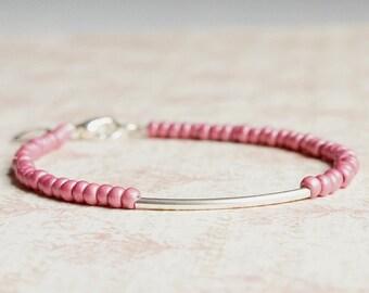Pink And Silver Bracelet, Seed Bead Bracelet,  Stacking Bracelet, Simple Bracelet, Beaded Bracelet, Delicate Bracelet, Minimalist Bracelet
