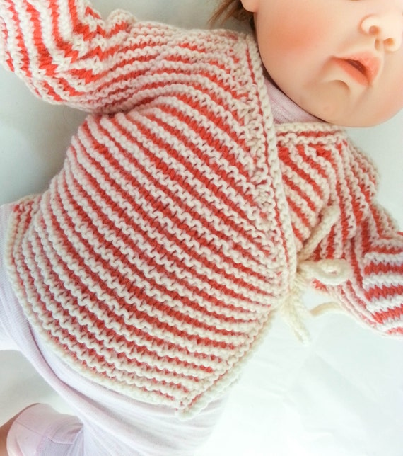 KNITTING PATTERN, Baby Wrap Cardigan, Baby Sweater, 7 Sizes, One Piece Baby T...