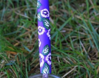 Shades of Purple Polymer Clay Handled Crochet Hook