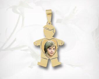 Personalized Photo Pendant-Baby Boy Charm-Photo Necklace-Photo Engraving-Kid Charm,Boy Pendant,Custom Photo Jewelry-Mom Jewelry