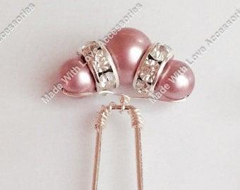 Blush Pink Hair Pins - Pink Pearl Bobby Pins - Bridal Hair Accessories - Bridesmaids Hair Accessories - Wedding Accessories - Prom Hair