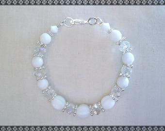 white bracelet, crystal bracelet, white and crystal bracelet