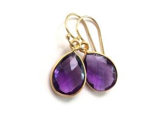 Amethyst Earrings, Amethyst Gold Earrings, February Birthstone Earrings, Perfect February Birthstone Gift