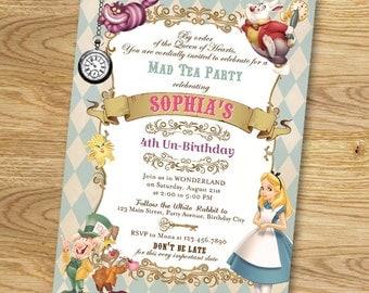 Vintage Alice in Wonderland Party Invitation // Mad Tea Party Invitation