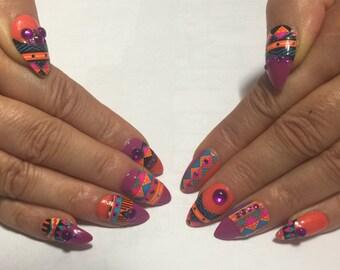 TRIBAL CORAL and FUSCIA Press On Nails   Fake Nails   False Nails   3D Nail Art Design   Glue On Nails