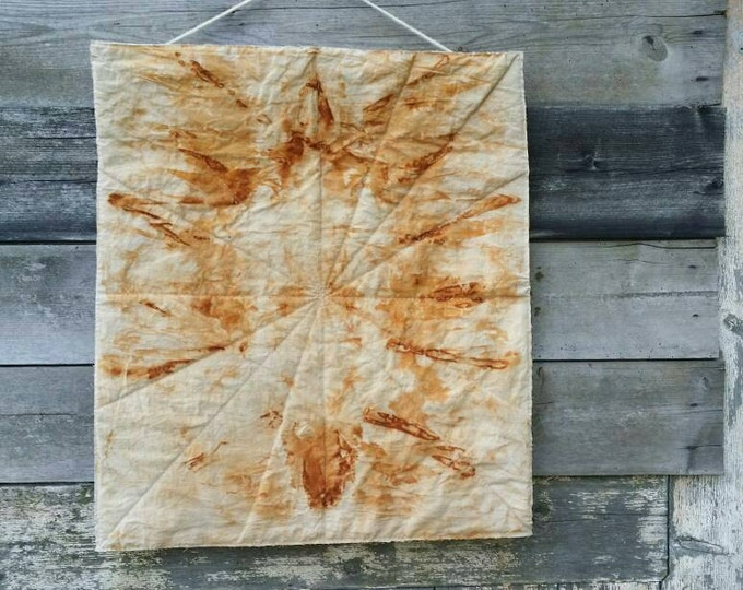 Wall quilt, Rust dyed quilt, Art quilt, Modern rustic decor, quilted wall hanging, textile wall art, fabric wall decoration, modern quilt