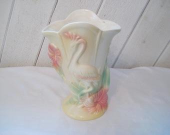 Large crane vase, decorative vintage vase, Hull USA pottery, wildlife bird vase, waterfowl, collectible, 1092