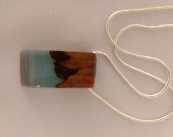 Pale Blue Resin and Burl Pendant