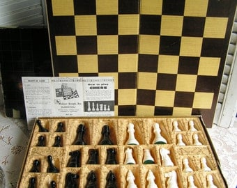 Vintage Gallant Knight Chessmen of Champions Chess Set Complete with Instruction Booklet Chess Game Weighted Chess Pieces Mid Century