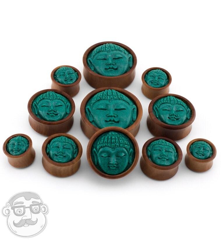 Buddha Gauges: Saba Wood Plugs With Buddha Stone Inlay 5/8 Gauge 1