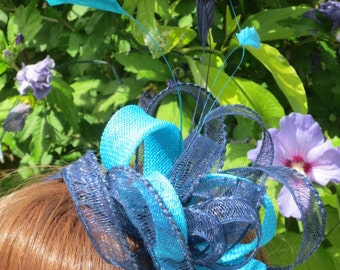 Navy crinoline and turquosie sinamay  loop.Wedding ,party,race days