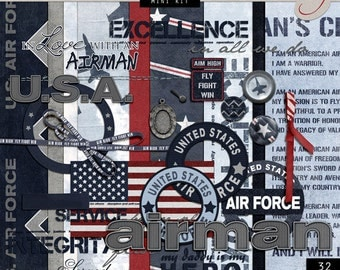 US Air Force Digital Scrapbook - Air Force Theme Paper - Military Scrapbook - Air Force Backgrounds - INSTANT DOWNLOAD