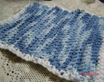Blue and White Variagated dishcloth  gift home OOAKHandmade dishcloth