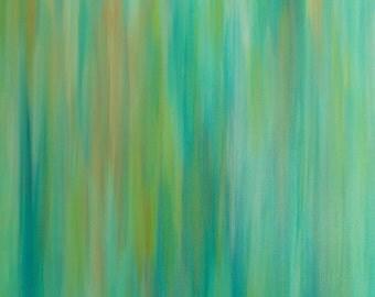Upcycled Art: Original Painting Green Artwork, Abstract Rain