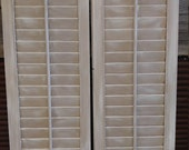 Custom for Britrany - Set of 2 Wood Shutters - puppy love/White Distressed