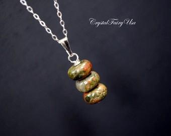 Tiny Rondelle Unakite Necklace Sterling Silver      Green  Unakite Jewelry,  Green Stone  Heart Chakra Healing, Unakite Necklace